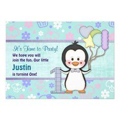 Penguin Cutie- Boy First Birthday Personalized Invite