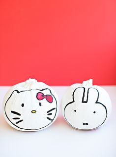 Adorable Hello Kitty and Miffy Pumpkin Characters. A cute no-carve pumpkin decorating idea for kids.