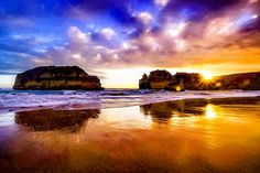 Sunset reflections at Sandy Cove near Warrnambool by greens_pics