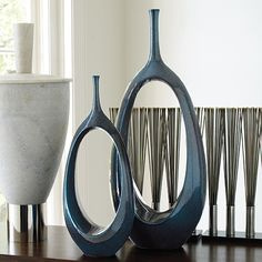 Vases, Limited Production Design, Modern Dark Teal Oval Rings Vases, so beautiful, one of over 3,000 limited production interior design inspirations inc, furniture, lighting, mirrors, home accents, accessories, decor and gift ideas to enjoy repin and share at InStyle Decor Beverly Hills Hollywood Luxury Home Decor enjoy & happy pinning