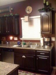 Gel stained oak cabinets