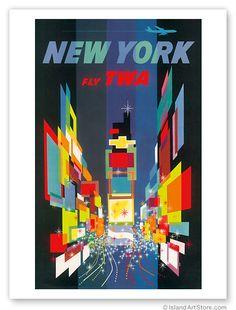 Vintage AVIATION Travel Poster TWA Airlines NEW YORK NY   eBay