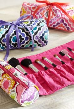 Quilted makeup rolls.