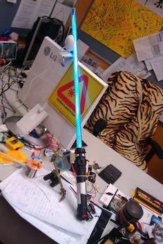 DIY light up lightsaber Light Up Lightsaber, Diy Lightsaber, Build Your Own Lightsaber, Star Wars Crafts, Star Wars Decor, Extreme Glow, Cosplay Diy, Cosplay Weapons, Acrylic Tube