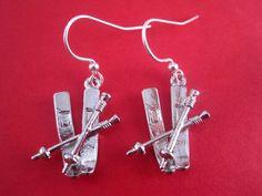 Ski Earrings  Ski Jewelry  Winter Earrings  by Sparkleandswirl, $12.00
