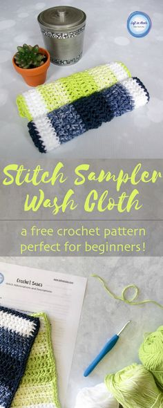 """This crochet wash cloth is the most simple pattern ever and perfect for beginners!  It is SO easy in fact, I am adding it to my collection of """"Crochet Basics"""" patterns.  Perfect for learning, teaching, gifting, selling and customizing with your own touch ;)  The latest free crochet pattern from Left in Knots!"""