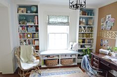 A tutorial for how we took two Ikea Billies to make these office built-ins and a bench seat. These built in billies definitely changed the space.