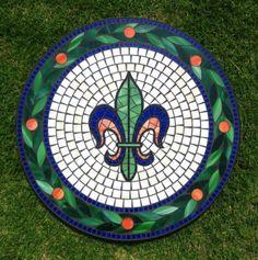 Fleur de lis mosaic glass table