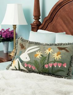 This fuzzy wool bunny will help you ring in spring! From the book A Change of Seasons by Bonnie Sullivan.