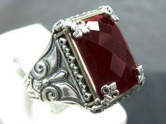 925 fine silver handmade men's Turkish kelebek style red ruby ring from Turkey