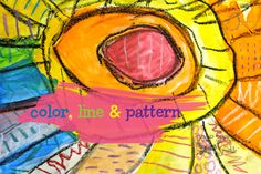 Color,-line-and-pattern kindergarten art lesson from Deep Space Sparkle Line Art Projects, School Art Projects, Deep Space Sparkle, Line Art Lesson, Art Lesson Plans, Kindergarten Art Lessons, Art Lessons Elementary, Elements Of Art Line, Oil Pastel Art