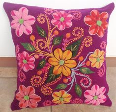 Magenta Hand embroidered Pillow cover Sheep and alpaca wool  flowers cushion cover handmade boho-chic bohemian eclectic style