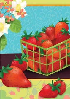 Accent Flag - Summer Strawberries Decorative Flag at Garden House Flags at GardenHouseFlags