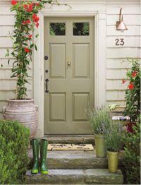 Sage green door, entry light, stone steps