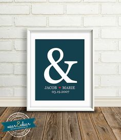 Personalized Wedding Gift  : Custom Ampersand Wedding Date Print - 8x10 / Bridal Shower Gifts - Engagement Present