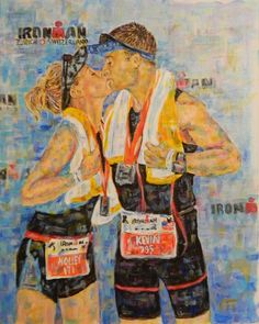 I will create a custom acrylic painting on Arches Watercolor paper depicting you in your gear. I offer three different settings, Swim, Bike or Run.