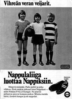 Nokian nappikset Old Commercials, Good Old Times, Old Ads, Old Pictures, Ancient History, Vintage Ads, Finland, Nostalgia, Childhood