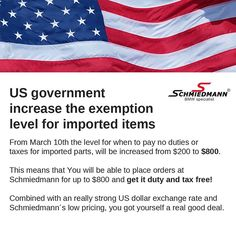 To all American customers: US government increase the exemption level for imported items. From March 10th the level for when to pay no duties or  taxes for imported parts, will be increased from $200 to $800. This means that You will be able to place orders at Schmiedmann for up to $800 and get it duty and tax free! Combined with an really strong US dollar exchange rate and Schmiedmann´s low pricing, you got yourself a real good deal. #bmw #tuning #instacar #instaauto #auto #car #bmwsport…