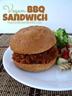 VEGAN BBQ Sandwich! Super easy to make in the Crock Pot!