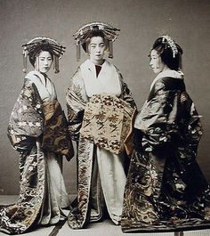 """thekimonogallery: """"Three tayuu. Hand-colored photo. About 1880's Japan. Smithsonian Institution, Freer Gallery of Art and Arthur M. Sackler Gallery Archives """""""