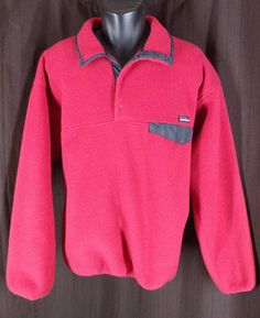 Patagonia Red Snap T Pullover Fleece Jacket Black Button Pocket