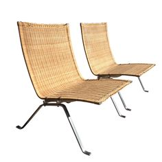 Poul Kjaerholm 'PK-22' Lounge Chairs, Pair EKC  1957