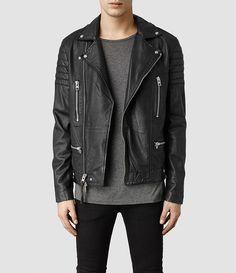 Mens Kane Leather Biker Jacket (Black) - product_image_alt_text_1