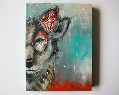 Original wolf painting mixed media art painting on wood canvas