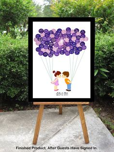 Wedding Guest Book Alternative - Balloon Stickers Sign In - Cute Little Girl  Boy Kids Kissing Couple - (Large 240-450 Guests)