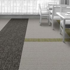 Interface Floor Design  | WW860: Linen Tweed, WW890: Brown Dobby, WW895: Glen Weave |  Find inspiration for your next interior design project with floors composed of modular carpet tiles from Interface