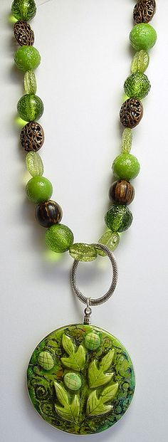 """Polymer Clay """"Forest"""" Necklace 