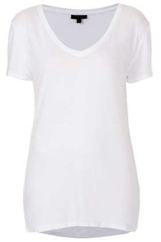 Viscose V Neck Tee - T-Shirts - Tops  - Clothing