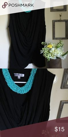 JLO black top Gorgeous loose top with V neck and fun droop detail on the front. Used, but great condition! 100% rayon. Jennifer Lopez Tops Tunics