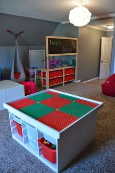 We did the Ikea Lego table. Now i like the grocery play. IKEA diy Lego table and grocery store pretend play Table Lego, Lego Table With Storage, Ideas Dormitorios, Lego Room, Toy Rooms, Table Games, Toy Storage, Kid Spaces, Kids Bedroom
