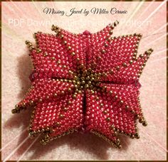 Tutorial Red Seed Bead Woven Pendant Brooch Ornament Object PDF File Instruction Flower Pattern DIY how