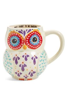 NATURAL LIFE 'Don't Forget to Be Awesome' 16oz.  Owl Mug at Nordstrom.com.   A lovely motivational phrase lines the inside rim of this fun and brightly colored owl mug.