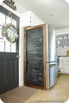 Kitchen Redo, Rustic Kitchen, Country Kitchen, Kitchen Remodel, Farmhouse Kitchen Island, Casa Retro, Fridge Decor, Chalkboard Fridge, Home Projects