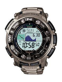 Casio Men's PRW2500T-7CR Pathfinder Triple Sensor Tough Solar Digital Multi-Function Titanium Pathfinder Casual Watch