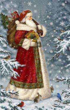 by Elizabeth Goodrick-Dillon More - Natal - Adorei ! Christmas Scenes, Noel Christmas, Victorian Christmas, Father Christmas, Winter Christmas, Christmas Crafts, Christmas Decorations, Christmas Mantles, Christmas Villages
