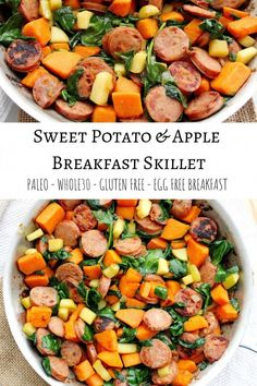 Sweet Potato and Apple Breakfast Skillet- Egg Free Fight breakfast boredom with this egg free sweet potato and apple skillet. – Sweet Potato and Apple Breakfast Skillet- Egg Free – The Bettered Blondie Apple Breakfast, Whole 30 Breakfast, Sausage Breakfast, Healthy Breakfast Recipes, Brunch Recipes, Paleo Recipes, Whole Food Recipes, Breakfast Skillet, Free Breakfast