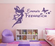Schöne Und Einfach Anzubringende Wandgestaltung Für Das Zauberreich Einer  Kleinen Fee. Wandtattoo Wandtattoo NAME Kinder