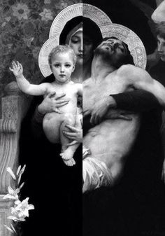 A combined picture of two paintings, probably by the same artist, showing Mary holding Baby Jesus in her arms on one side and holding the dead body of Her beloved Son on the other side.  Very powerful!