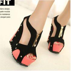 Womens Peep Toe Zipper Retro Rivet High Platform Wedge Heels Sexy Shoes Sandals #100new #PumpsClassics