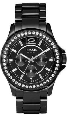 Fossil Watch , Fossil Women's CE1011 Black Ceramic Bracelet Black Glitz Analog Dial Multifunction Watch