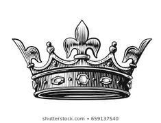 King Crown Vector Illustration hand drawn on white King Crown Tattoo, Crown Tattoo Design, King Tattoos, Queen Tattoo, Body Art Tattoos, Tattoo Drawings, Sleeve Tattoos, Crown Tattoos, Arm Tattoos For Guys