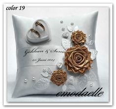 Personalized ! wedding ring cushion pillow with rings holder box 30 color
