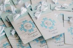 Damask blue wedding invitations