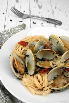 Linguine with Clams in a Saffron Broth