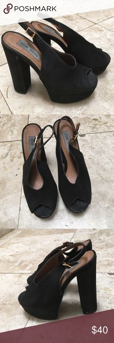 Steve Madden Black Suede Platforms Pretty used but still look pretty nice. Steve Madden Shoes Platforms