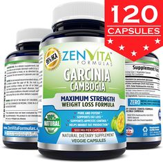 95% HCA 100% Pure Garcinia Cambogia Extract - 120 Capsules, Highest Potency, Powerful NEW and IMPROVED Formula, Maximum Strength Natural Weight Loss Supplement, Appetite Suppressant, Fat Burner, and Carbs Blocker >>> Trust me, this is great! : Garcinia cambogia